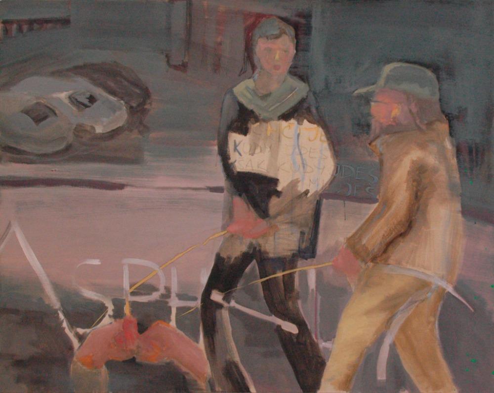 Karel Nosek, Cesty domů, akryl a olej na plátně, 120x90, 2017